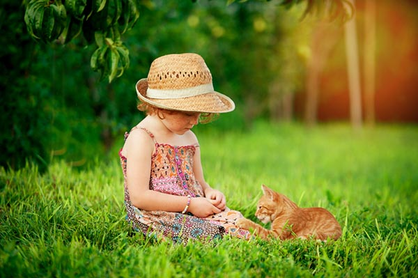 Child playing with cat